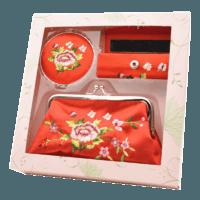 刺绣花镜子口红盒零钱包套装 特色礼物送老外出国中国风商务礼品