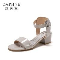 达芙妮旗下杜拉拉品牌 纯色圆头方跟一字扣前后绊带凉鞋