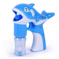 北国e家 儿童玩具泡泡枪可爱卡通海豚造型全自动带灯光泡泡枪 蓝色