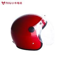 小牛电动彩色拉花3/4复古头盔带风镜骑行安全帽保暖防风秋冬配件