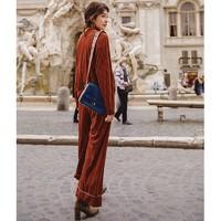 INMAN茵曼 两件套装 女 纯色 圆领 拉链棒球衫宽 阔腿裤