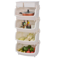 BELO 百露 厨房置物架  白色四层 带储物盒 *4件