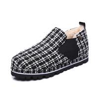 Everugg秋冬新款格子休闲鞋一脚蹬懒人鞋澳大利亚羊毛内里保暖复古格纹雪地靴女鞋子11584