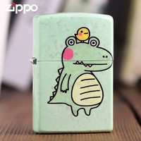 zippo芝宝美国原装正品打火机 亮面彩印鸡仔鳄防风煤油火机卡通图 鸡仔鳄亮面彩漆