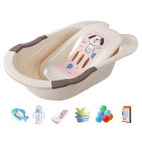 日康(rikang)婴儿洗澡盆可坐可躺 可搭洗澡网RK-3626 米色套装买1赠12