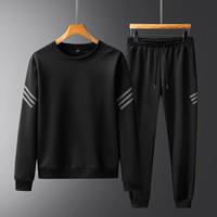 富贵鸟运动套装男长袖秋冬新款跑步健身弹力圆领套头卫衣三件套装 男BH910黑色 2XL