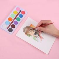 博格利诺 固体水彩颜料 12色 送水彩笔1支