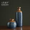金色复古陶瓷花瓶 客厅插花花器 美式乡村家居软装饰品小口鱼篓瓶