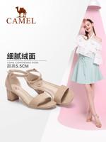 骆驼女鞋 2019夏季新款网红凉鞋一字带女士凉鞋粗跟 少女高跟鞋女
