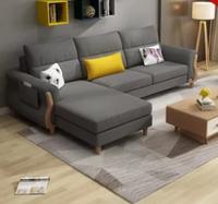紫茉莉北欧现代简约布艺沙发小户型客厅实木贵妃可拆洗组合家具(烟灰色 双 贵)