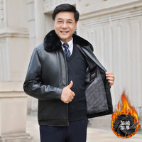 冬季新款中年男士大毛领皮夹克爸爸装外套加绒加厚中老年PU皮衣男+凑单品