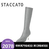 思加图2019冬季新款尖头细高跟弹力亮片布长靴女长靴9I605DG9 银灰 34
