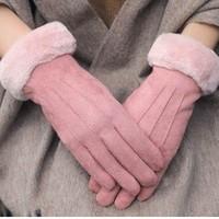 ziy   女士保暖麂皮绒手套