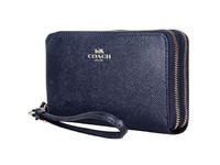 COACH/蔻驰女款黑色皮质中长款手拿包零钱包F57467 IMMID深蓝色