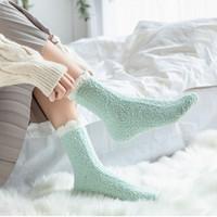 柔尔宜   加绒加厚珊瑚绒中筒袜   3双