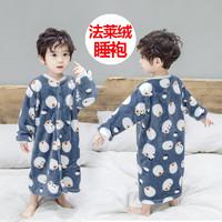 儿童浴袍法兰绒小孩男女宝宝婴儿女童男童珊瑚绒春秋冬季夹棉睡袍