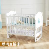 萌小孩 欧式婴儿床实木多功能新生儿摇篮床BB儿童床环保白色宝宝床 小床