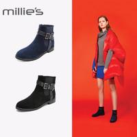 millie's/妙丽冬专柜同款羊绒欧美时尚圆头方跟女短靴LTW59DD8
