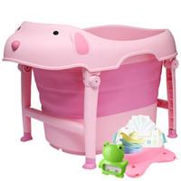 日康儿童洗浴桶可折叠洗澡桶宝宝洗澡桶婴儿洗澡盆 加大加厚 RK-X1018粉色浴桶