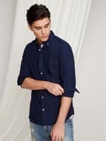 Gap 男装 基本款简约休闲风格牛津纺长袖衬衫