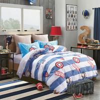 迪士尼(Disney)床品套件 儿童全棉卡通四件套 漫威卡哇伊条纹 活性印染 蓝色 1.2米床