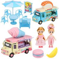 豆豆象 粉色合金餐车+蓝色合金餐车+餐桌+2人偶