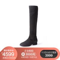 STUART WEITZMAN 斯图尔特·韦茨曼 SW 女士黑棕色绒面皮革低跟高筒靴 ELOISE30 ASPHALT