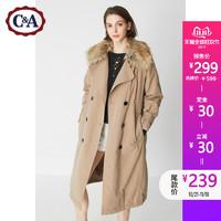 预售:C&A女式毛领双排扣加厚夹棉风衣 秋冬两穿长外套CA200183567