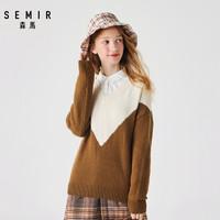 森马毛衫女2019冬季新款宽松V领毛衣撞色打底针织衫上衣