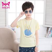猫人儿童T恤上衣男童装纯棉印花短袖男孩简约舒适打底衫 黄色 110 *3件
