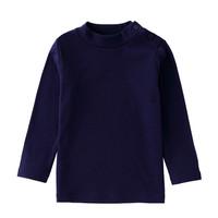 安奈儿童装女童打底衫长袖秋冬款男童休闲纯色t恤保暖内搭衫中领深紫蓝130 *3件