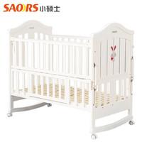 小硕士(XS) 小硕士婴儿床实木儿童床多功能环保宝宝床bb床游戏床可加长变书桌进口松木 白色单床 110x60