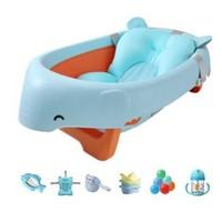 日康(rikang)婴儿洗澡盆 婴儿浴盆 可搭洗澡网 儿童可折叠浴盆 RK-X1020蓝厚浴垫