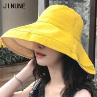 JINUNE Y218-8 双面拼色大檐渔夫帽