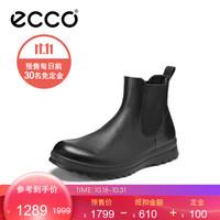 ECCO爱步英伦休闲短靴男士冬季时尚百搭高帮切尔西皮靴子 达伦537204 黑色53720401001 39