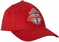 MLS 多伦多 FC 男式基本结构化弹性棒球帽,大号/XL 码,红色