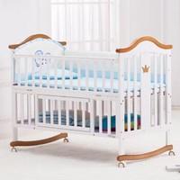 呵宝(HOPE) 婴儿床 实木宝宝床 欧式单床+蚊帐+床垫+五件套+对应颜色棉被(床不带金边)内径=100*56cm