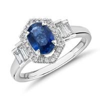 Blue Nile 14k白金椭圆形蓝宝石戒指配钻石辅石(7*5mm)