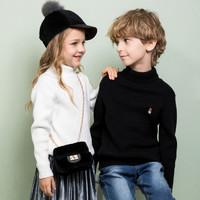 Hush Puppies 暇步士童装新款男女同款简洁套头线衣儿童打底线衣儿童毛衣