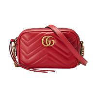 GUCCI 古驰GG Marmont系列 女士双G绗缝单肩波浪纹斜挎包相机包