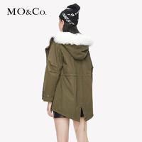 MOCO冬季新品毛领白鸭绒派克羽绒服短款外套女MA184EIN118 摩安珂