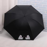 FaSoLa 小清新黑胶防紫外线太阳伞雨伞 自动小龙-黑色