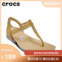 Crocs女涼鞋 卡駱馳伊莎貝拉T型夾腳一字平底夏季單鞋|202467