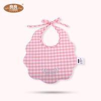 良良(liangliang) 婴儿围嘴宝宝口水巾 防水可洗麻棉圆领围嘴随机发 浅粉