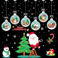 圣诞节装饰品橱窗玻璃门贴纸店面场景布置圣诞老人贴画店铺窗花贴