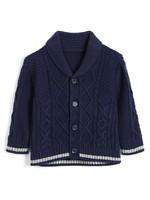Gap 蓋璞 嬰兒 柔軟粗棒針織翻領開襟針織衫