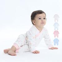 hello mika 米卡 0-6个月婴儿纯棉印花连身衣新生儿偏襟哈衣 8色