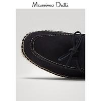 预售 西班牙制造 Massimo Dutti男鞋 结饰设计蓝色绒面真皮草编鞋休闲鞋 16902022400