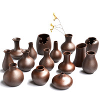 陶迷手工花瓶景德鎮陶瓷花器茶桌禪意粗陶德化新中式插花粗陶瓶子