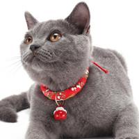 逗樂奇 貓鈴鐺  貓咪項圈 紅色櫻花 M碼 適合4-9kg貓咪